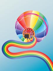 Air balloon with rainbow