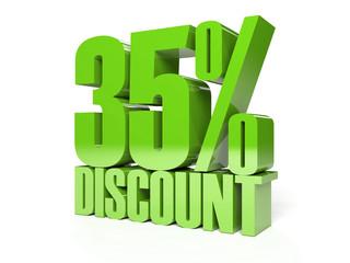 35 percent discount. Green shiny text. Concept 3D illustration.