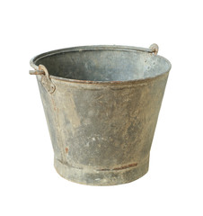 Old metal bucket isolated on white background
