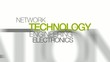 Technology electronics engineering word tag cloud animation