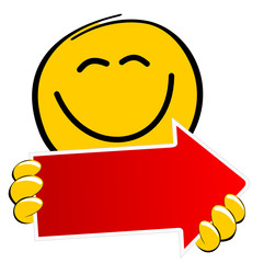 Smiley mit rotem Pfeil