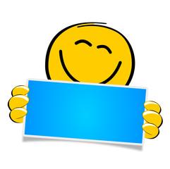 Smiley Schild blau