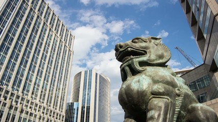 The bronze lion sculpture in Beijing Financial Street,China