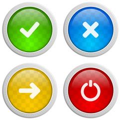 Bunte Buttons mit Symbolen Internet