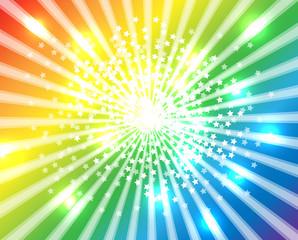 星 放射状背景 放射光 虹色の背景