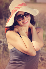 portrait of beautiful 35 years old woman with glasses