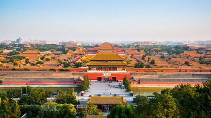 Overlook the Forbidden City form hill,Beijing,China