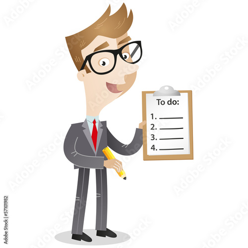 Businessman, to-do list, clipboard, list