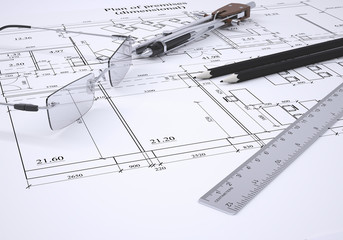 Glasses, ruler, compass and pencils