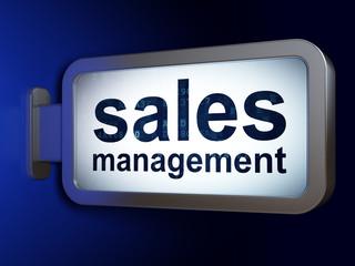 Advertising concept: Sales Management on billboard background