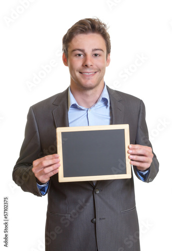 Smart businessman with chalkboard
