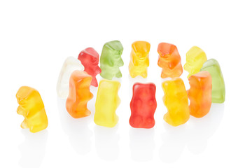 Gummy bears exclusion concept isolated, clipping path