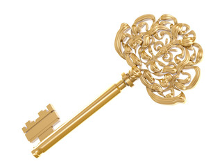 golden key isolated on white background