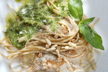Wholemeal Spaghetti With Basil Pesto And Pine Nuts