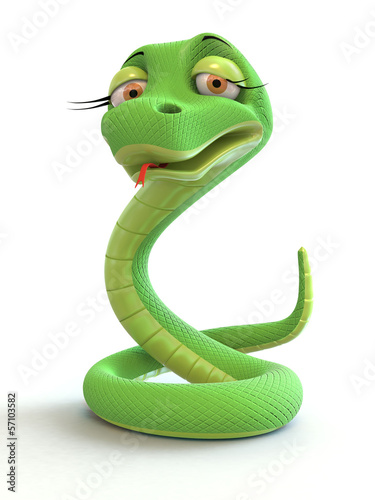 green snake on a white background