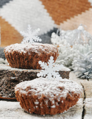 Sweet chocolate muffins for Christmas