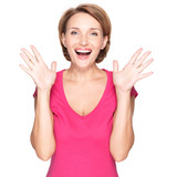 Portrait of surprised woman with positive emotions