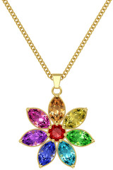 Gold pendant with colorful gemstones on chain  on white