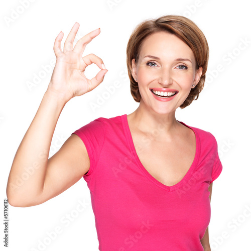 Adult happy woman with ok gesture