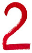 red Arabic numeral 2 written by hand