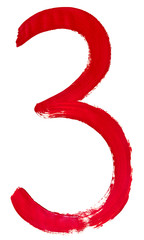 red Arabic numeral 3 written by hand