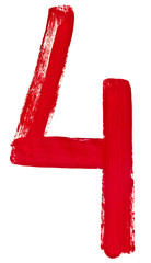 red Arabic numeral 4 written by hand