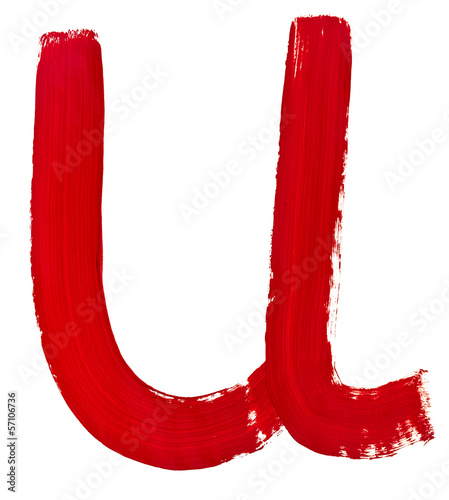 letter u hand painted by red brush