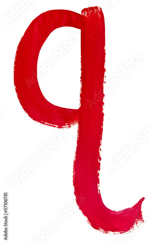 letter q hand painted by red brush
