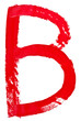 letter b hand painted by red brush