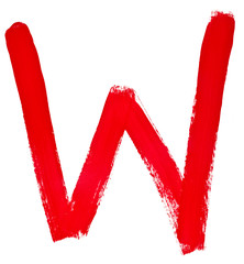 letter w hand painted by red brush