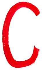 letter c hand painted by red brush