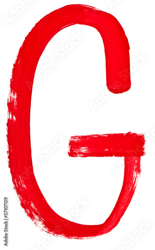 letter g hand painted by red brush