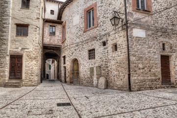 antique alley in Spoleto, Umbria, Italy