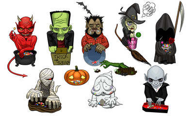 Halloween monster characters
