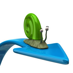 Green snail on blue arrow