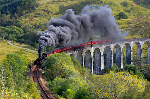 The Jacobite train Glenfinnan viaduct Highland Scotland