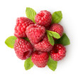 Sweet raspberry with green leaves