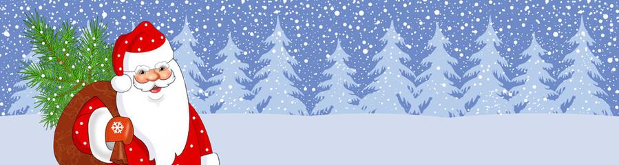 Баннер новогодний с дедом морозом.