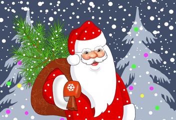 Дед Мороз с мешком подарков  .Векторная новогодняя открытка