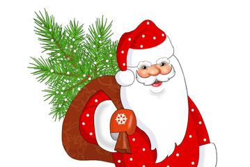 Дед Мороз с мешком подарков на белом фоне. Векторная открытка