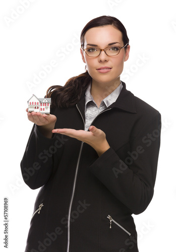 Mixed Race Businesswoman Holding Small House to the Side.