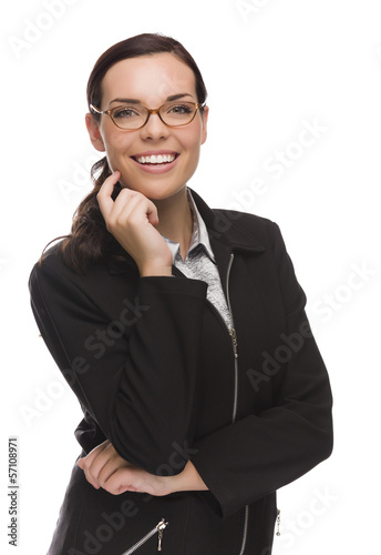Confident Mixed Race Businesswoman Isolated on White.