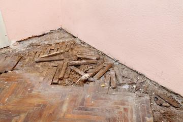 Home renovation old demolished oak parquet