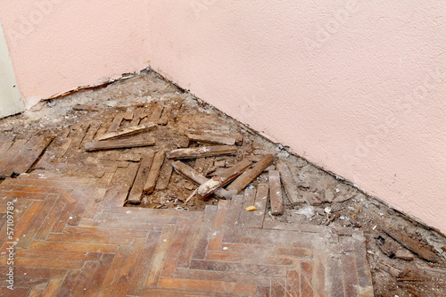 Home renovation old demolished oak parquet