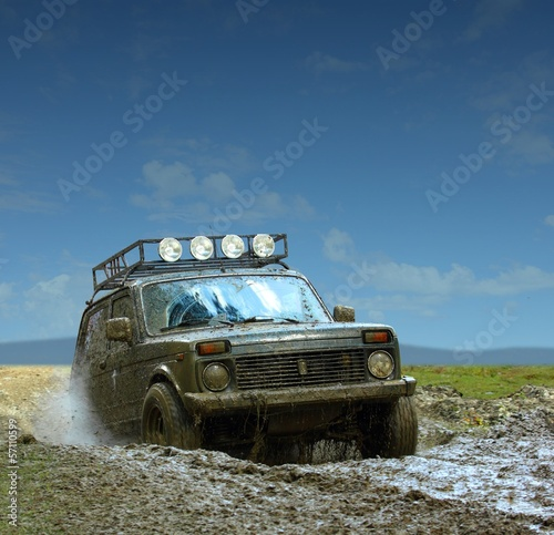 Muddy Off Road Car
