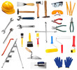 Set of different tools isolated on white