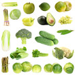 Collage of green vegetables and fruits isolated on white