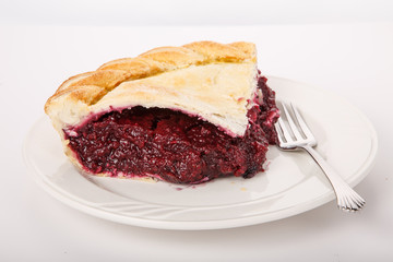 Raspberry Pie and Fork on White Plate