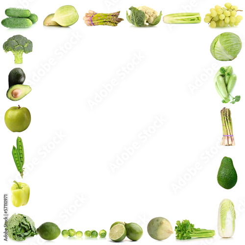 Collage-frame of green vegetables and fruits