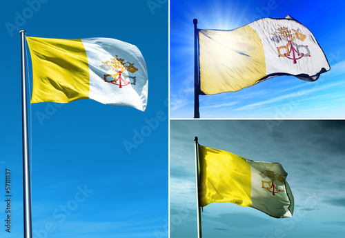 Vatican City flag waving on the wind
